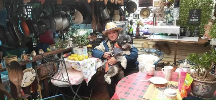 Rodrigo Bagon with a dog named Tarzan