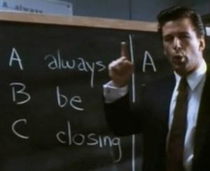 Alec Baldwin gives some gentle sales tips in the film version of Glengarry Glen Ross