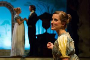Angela Smith as Harriet Smith, Trevor William Fayle as Mr. Elton, and Lauren Sowa as Emma Woodhouse in Lantern Theater Company's production of Jane Austen's EMMA (2013). Photo by Mark Garvin.