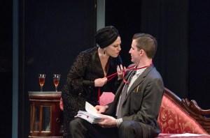 Norma Desmond (Ann Crumb) seducing Joe Gillis (Sean Thompson).  Photo by Mark Jordan.