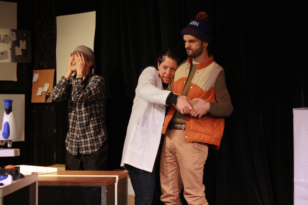 Alice Yorke, Corinna Burns, and Dave Johnson in WE CAN ALL AGREE TO PRETEND THIS NEVER HAPPENED (Photo credit: Ilana Caplan)