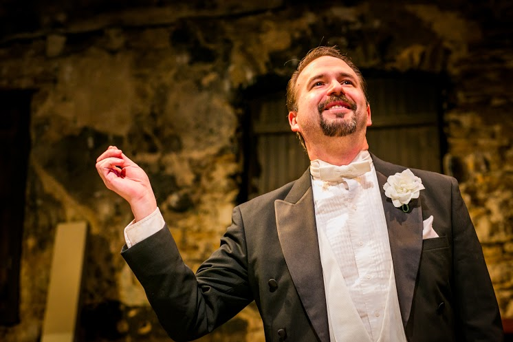 David Nikolas as Maurice Mullinsin A MURDER HAS BEEN ARRANGED at Hedgerow Theatre. Photo by Ashley LaBonde