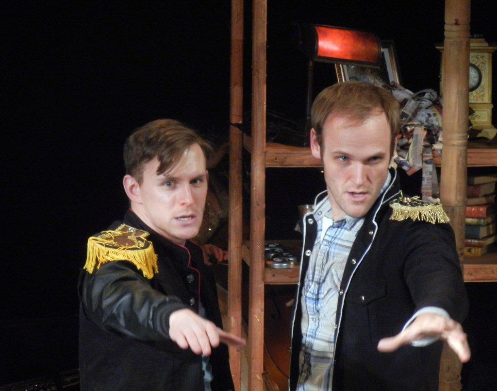Ben Michael and Alex Bechtel (L-R) as Cinderella's Prince and Rapunzel's Prince in Theatre Horizon's INTO THE WOODS.