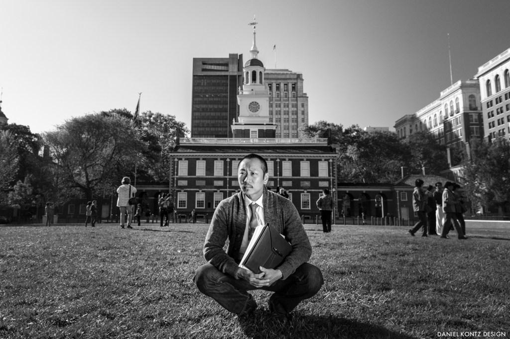Philadelphia actor Makoto Hirano as Gordon Hirabayashi with Hold These Truths manuscript