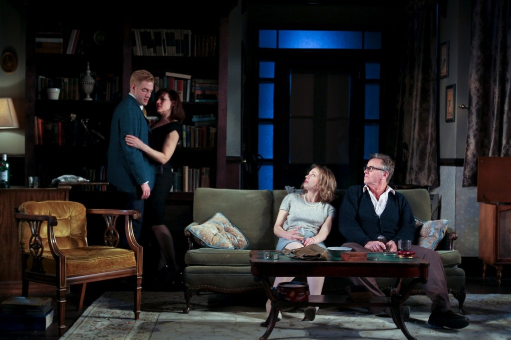 The ensemble (left to right: Jake Blouch, Catharine Slusar, Emilie Krause, and Pearce Bunting) of Theatre Exile's WHO'S AFRAID OF VIRGINIA WOOLF (Photo credit: Paola Nogueras)