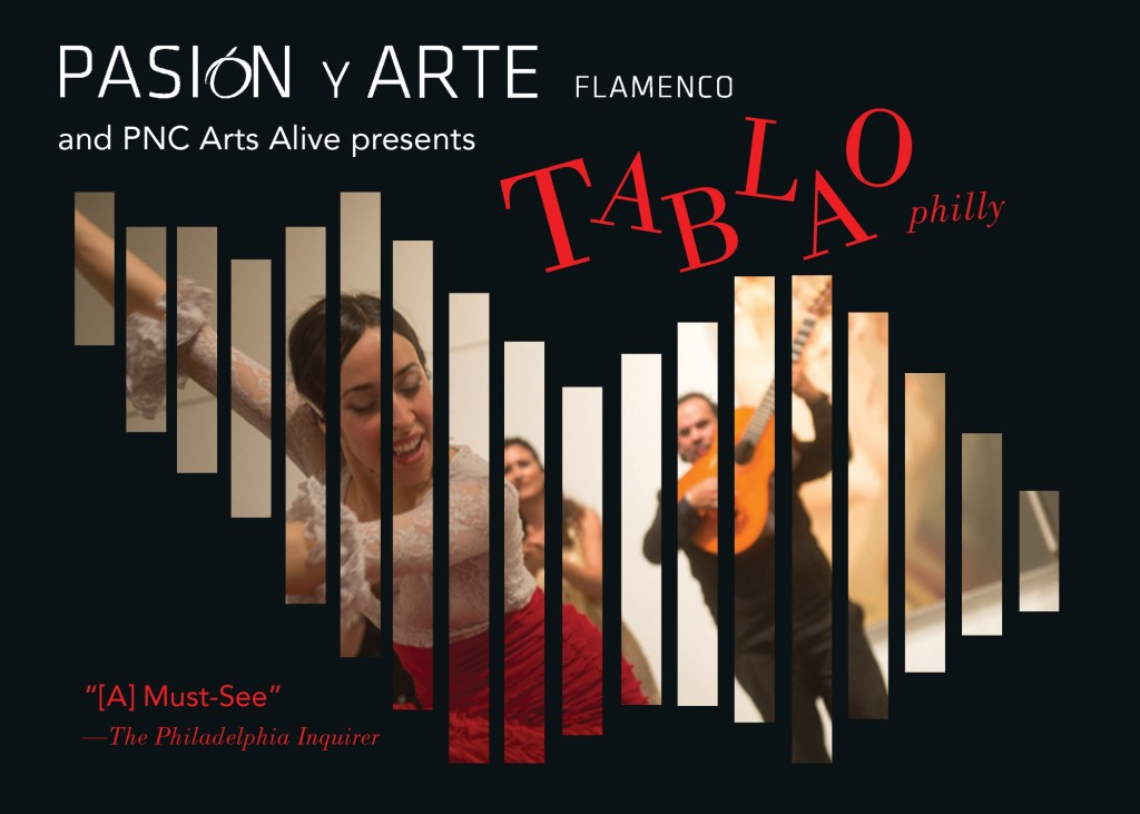 Flyer featuring image of performance of Pasion y Arte Flamenco. Photo by J.J. Tiziou