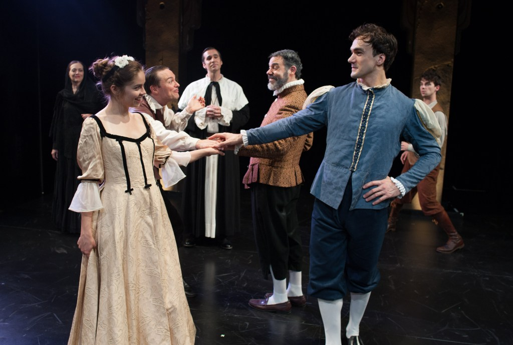 E. Ashley Izard (as Sostrata), Emiley Kiser (as Lucrezia), Josh Carpenter (as Ligurio), Sean Close (as Brother Timothy), Gregory Isaac (as Nicia), Alan Brincks (as Callimaco), Connor Hammond (as Siro). Photo by Shawn May.