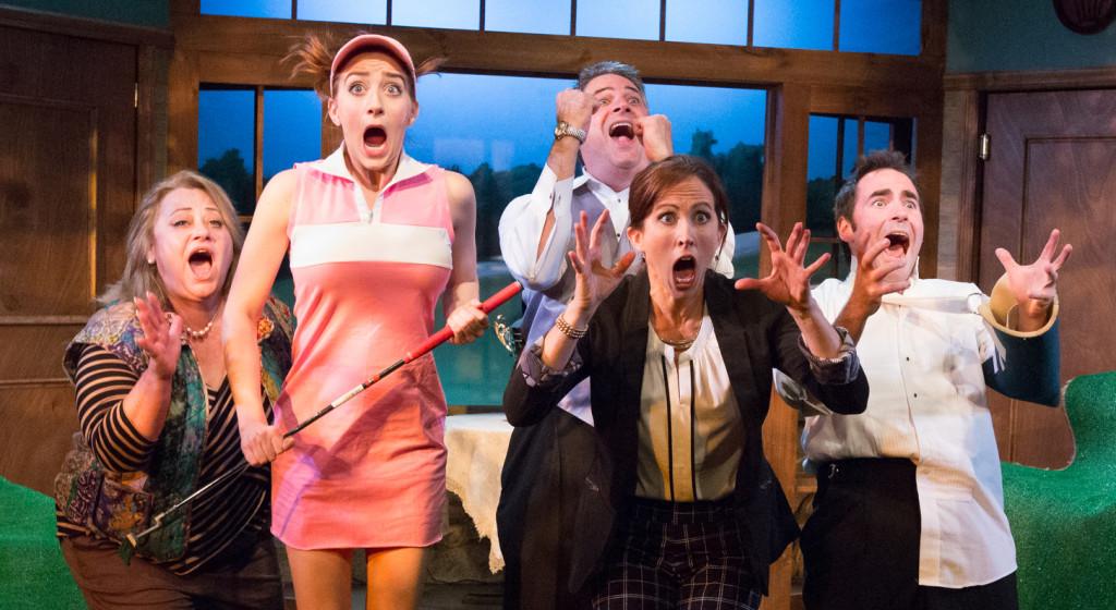 Gerre Garrett, Naomi Weiss. Peter Bisgaier, Karen Peakes, and Will Dennis star in Ken Ludwig's THE FOX ON THE FAIRWAY, now playing at Act II Playhouse in Ambler through Nov. 22. Photo by Mark Garvin.