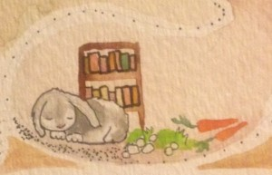 The reviewer as a rabbit, Detail of painting by K. Shannon Settlemyre.