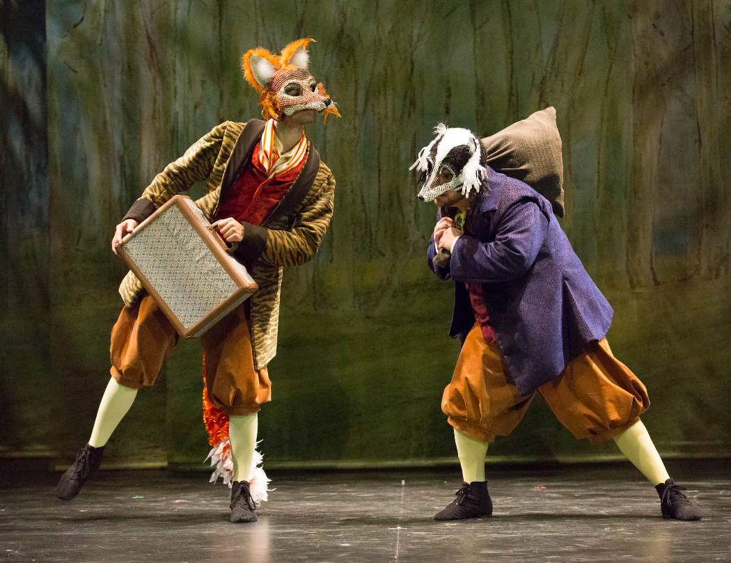 The villains Mr. Tod and Tommy Brock in Enchantment's PETER RABBIT TALES (Photo credit: Mark Garvin)