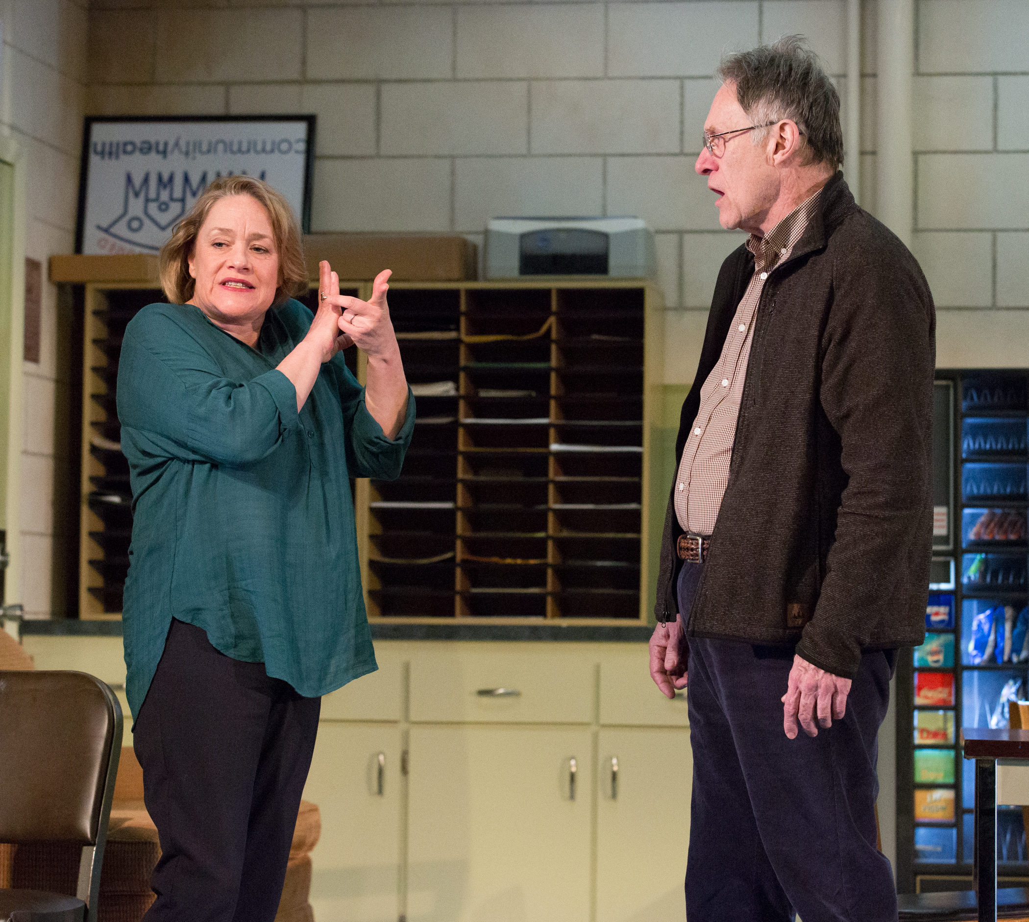 Deirdre Madigan and Michael Cullen in Philadelphia Theatre Company's production of the East Coast premiere of EXIT STRATEGY by Ike Holter, running through February 28 at the Suzanne Roberts Theatre.  Photo credit: Mark Garvin