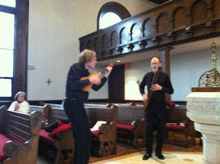 Piffaro's musicians playing at St. Andrew & Matthew Church, Del.  Photo by Kelly Witman