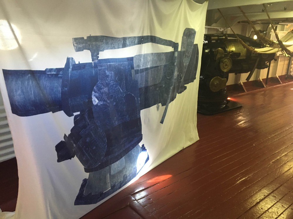 """Sarah Kabot's """"Toll"""", part of ARTSHIP OLYMPIA, challenges in fabric the aggressive physicality of the Olympia's large guns."""