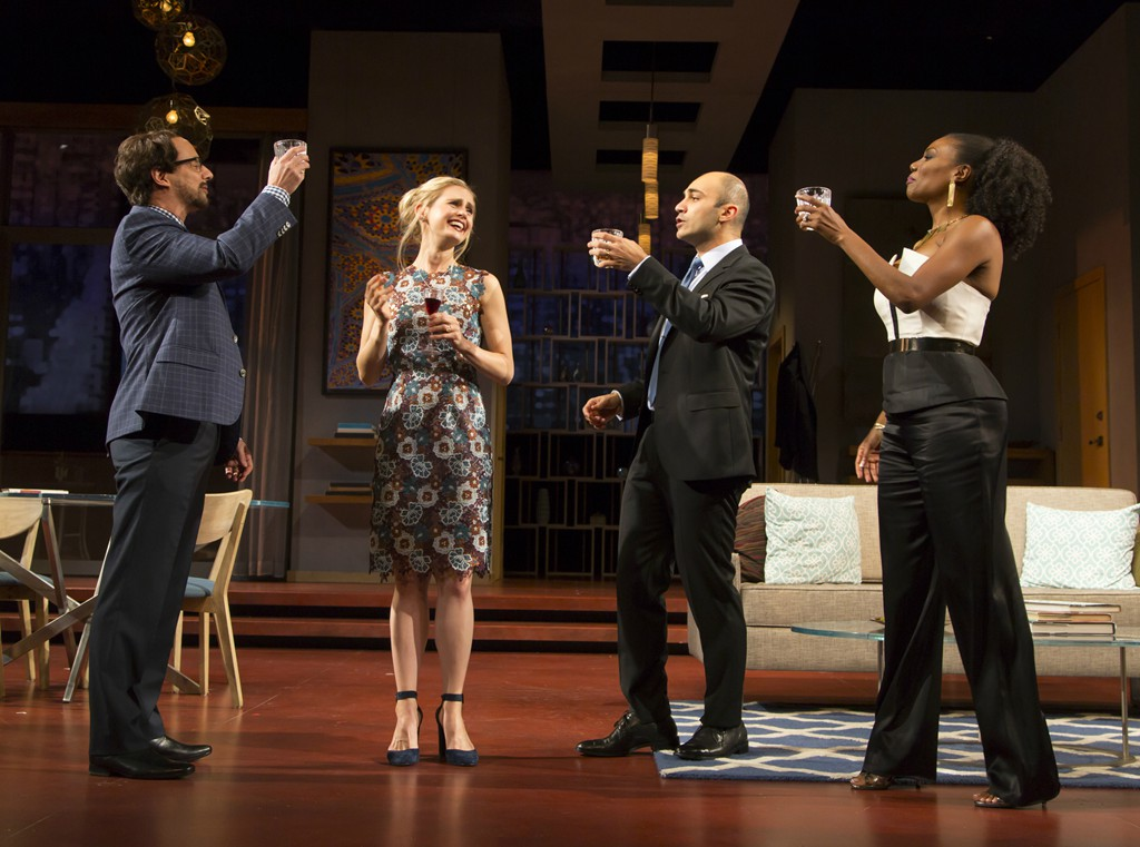 Kevin Isola, Caroline Kaplan, Maboud Ebrahimzadeh, and Austene Van in DISGRACED. Photo by T. Charles Erickson.