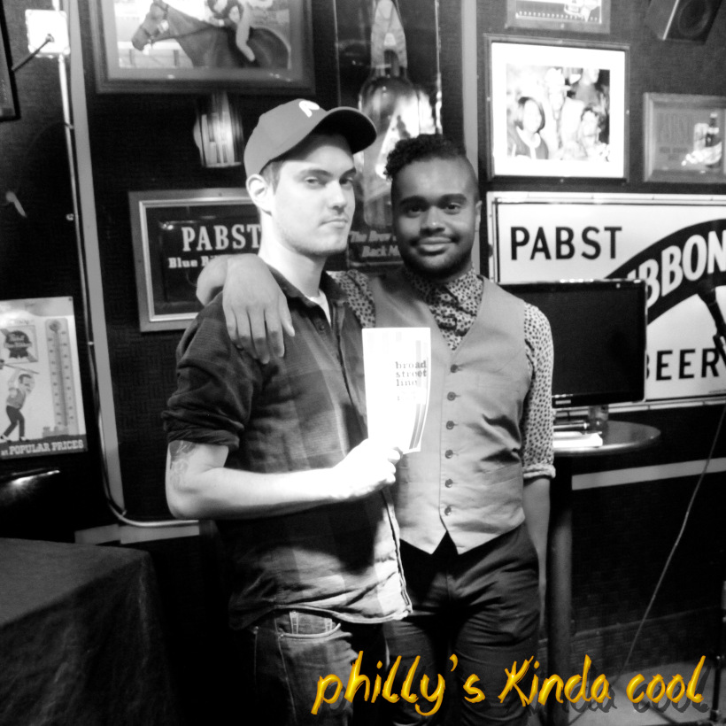 Poet Sean Lynch with host Sebastian Cummings at the Philly's Kinda Cool AF party.