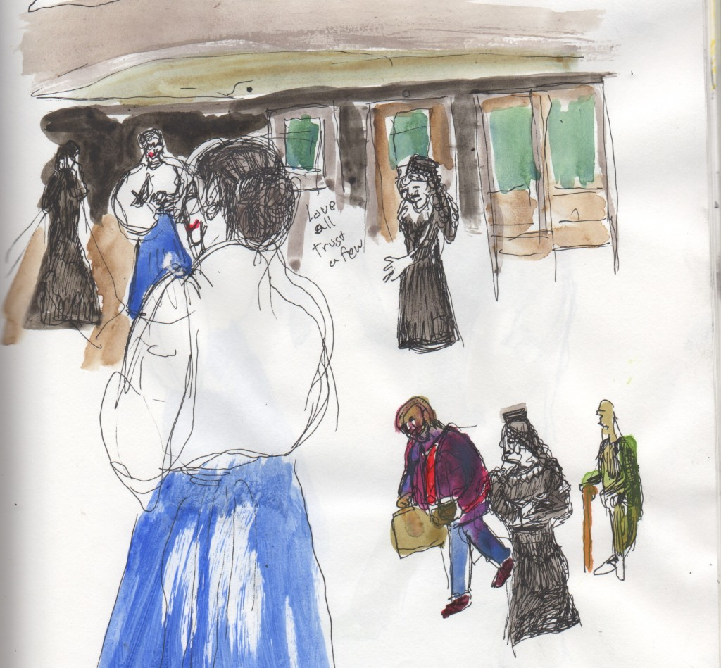 Philadelphia Artists Collective production of ALLS WELL THAT ENDS WELL. Sketch by Chuck Schultz.