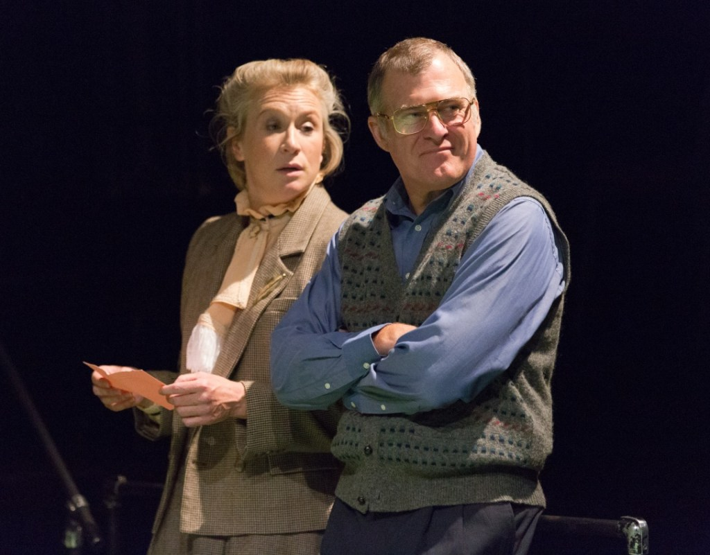 McKenna Kerrigan as Elizabeth Hapgood and William Zielinski as Kerner in Lantern Theater Company's production of Hapgood by Tom Stoppard, directed by Peter DeLaurier. Onstage now through October 14, 2018. Photo by Mark Garvin.