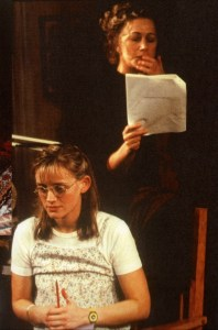 Anne-Marie Duff as student Lisa Morrison, and Dame Helen Mirren as Prof. Ruth Steiner, Theatre Royal Haymarket, London 1999. Courtesy of Helen Mirren website.