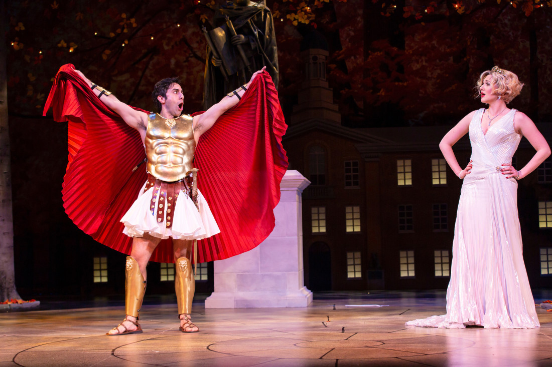 review image: George Psomas and Steffanie Leigh in Ken Ludwig's THE GODS OF COMEDY. Photo by T. Charles Erickson.
