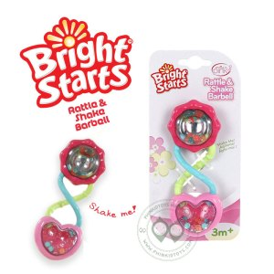 ที่จับเขย่า Bright Starts Pink Barbell Rattle & Shake