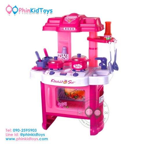 ชุดครัวเด็กจำลองสีชมพู มีเสียง มีไฟ Kitchen Set for Kids สำหรับคุณหนูๆที่ชื่นชอบในการทำอาหาร ชุดครัวชุดใหญ่พร้อมลูกเล่นมากมาย มีเสียงมีไฟ สมจริง เสมือนกำลังทำอาหาร รายละเอียดสินค้า - ทำจากพลาสติกอย่างดี - มาพร้อมอุปกรณ์ทำครัวมากมายเช่น หม้อ กระทะ จาน ช้อนส้อม ตะหลิว แก้วน้ำ - เตาแก๊ส เวลาเปิดแล้วจะมีไฟแดงเหมือนของจริง - มีเสียงผัดอาหาร เสียงน้ำเดือด สร้างความตื่นเต้นให้น้องๆค่ะ - เตาไมโครเวฟ เวลาเปิดมีไฟเวลา เปิด-ปิด มีเสียง มีปุ่มตั้งเวลา เพิ่มความสนุกสนานในการเล่น - เสริมสร้างจินตนาการให้กับน้องๆ ช่วยสร้างสร้างมนุยสัมพันธ์กับผู้อื่นหากเล่นเป็นกลุ่ม - ขนาดความสูงจากพื้นถึงหลังคาด้านบนสุด 61 CM. - ขนาด 20 x 41.5 x 64 cm. (กว้างxยาวxสูง) เหมาะสำหรับเด็กอายุ 3 ปีขึ้นไป