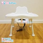 เก้าอี้สูงทานข้าวสำหรับเด็ก ปรับระดับได้ สีขาว-2