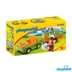 Playmobil 70182 1.2.3 Zoo Vehicle with Rhinoceros Figure เพลย์โมบิล 123 รถซาฟารีและแรด