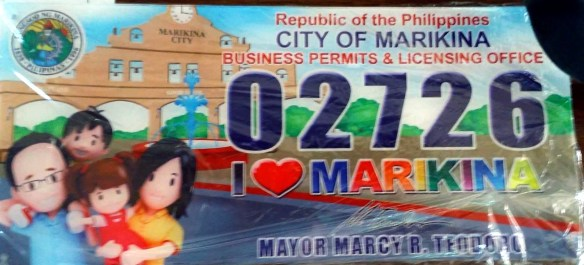 Mayor's Permit and Plate Number