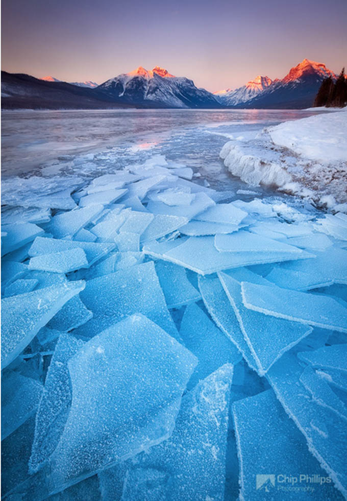 Lake MacDonald Ice by Chip Phillips