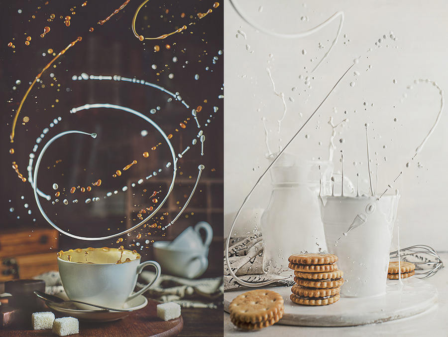 Spilled milk, still life with twisted splashes by Dina Belenko