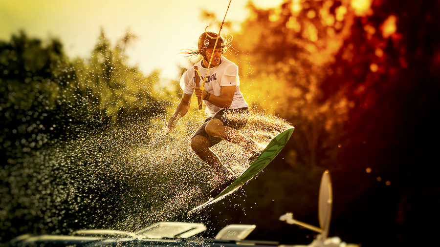 Wakeboarding or Flying by Henrik Lindberg