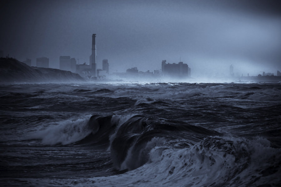 Sea storm at Tel-Aviv beach by Lior. L