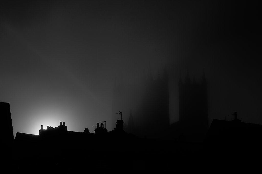 image of lincoln cathedral in fog
