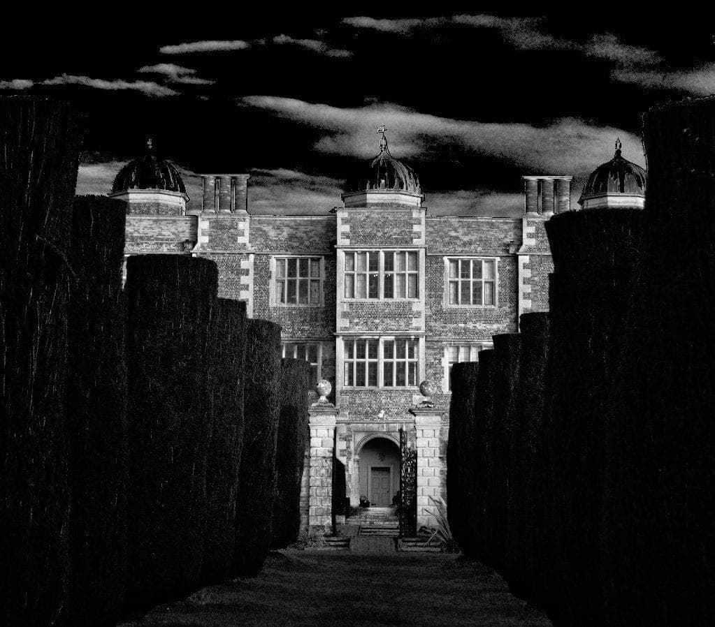 doddington hall black and white image