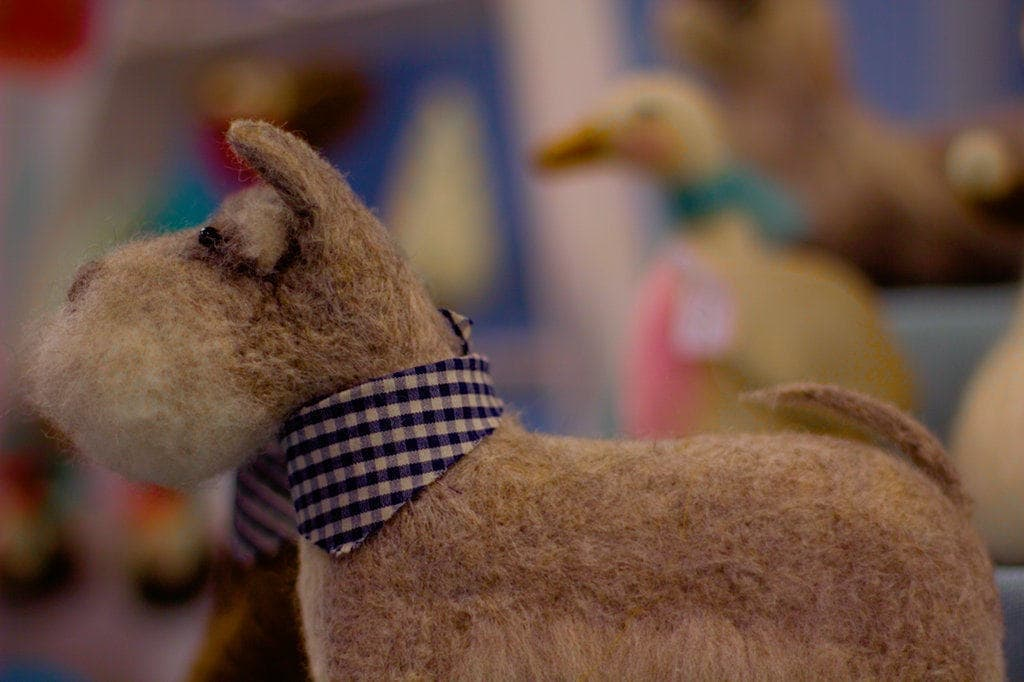 image of handmade felt dog at lincoln market