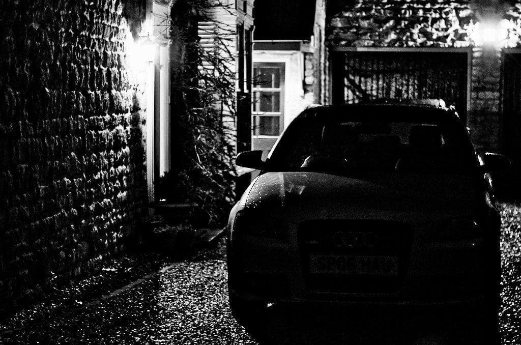 house parked car at night
