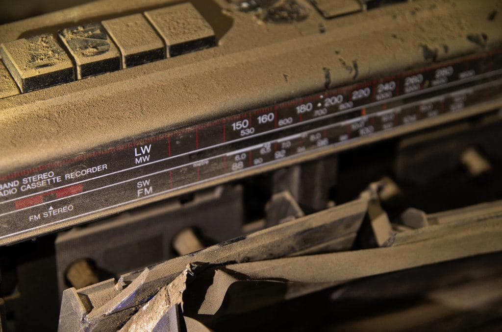 stereo in an abandoned factory
