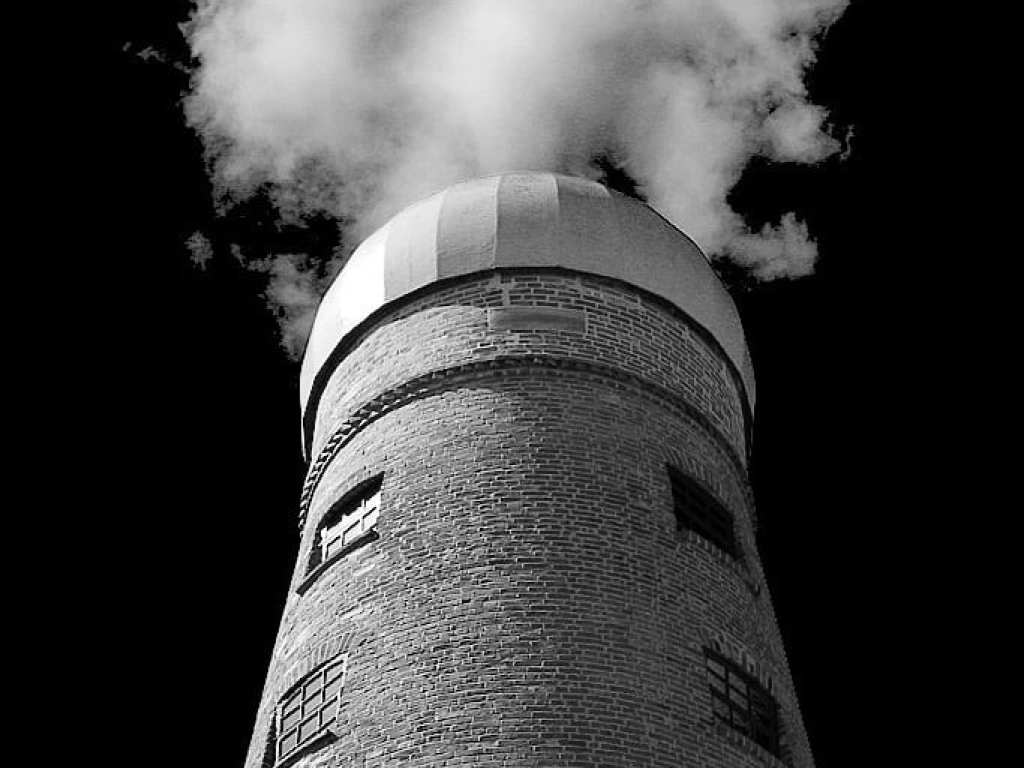 Windmill in Lincoln converted to black and white by phlogger