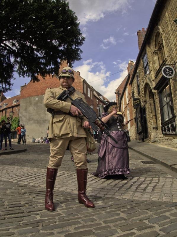 street photography - steampunk session - vintage army costume