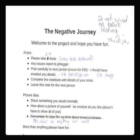 negative journey ends - Copy of the welcome letter enclosed with the camera