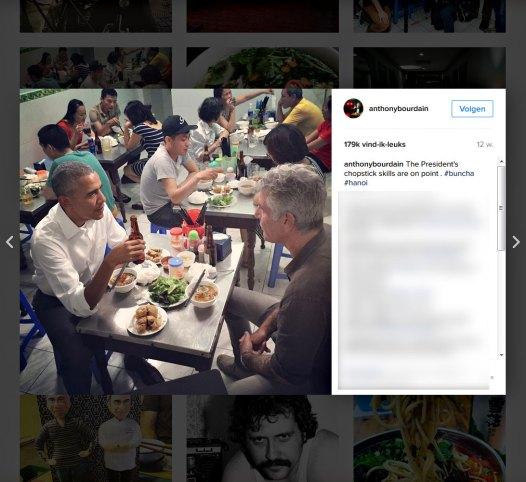 The President's chopstick skills are on point . #buncha #hanoi (Instagram anthonybourdain)