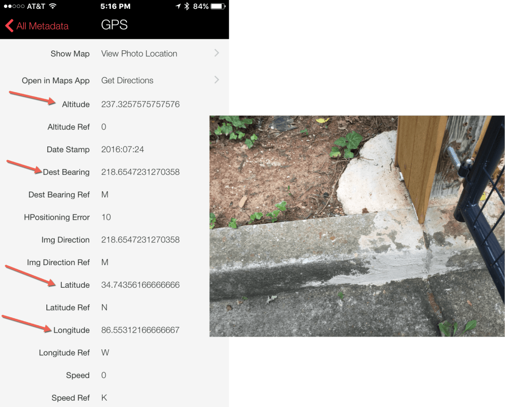 An iPhone photo and its GPS photo data. The photo is of a curb at the end of a driveway. The metadata includes Altitude, Dest Bearing, Latitude, and Longitude. Red arrows point to these words.