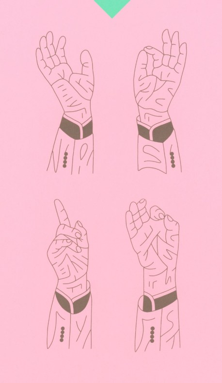 Outlines of four hands on a pink background.