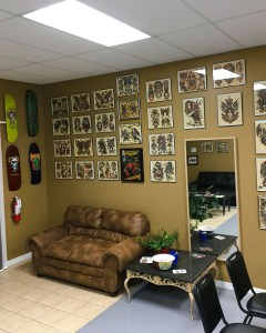 Phoebus tattoos lobby artwork display, watercolor, prints, tattoo designs, paintings