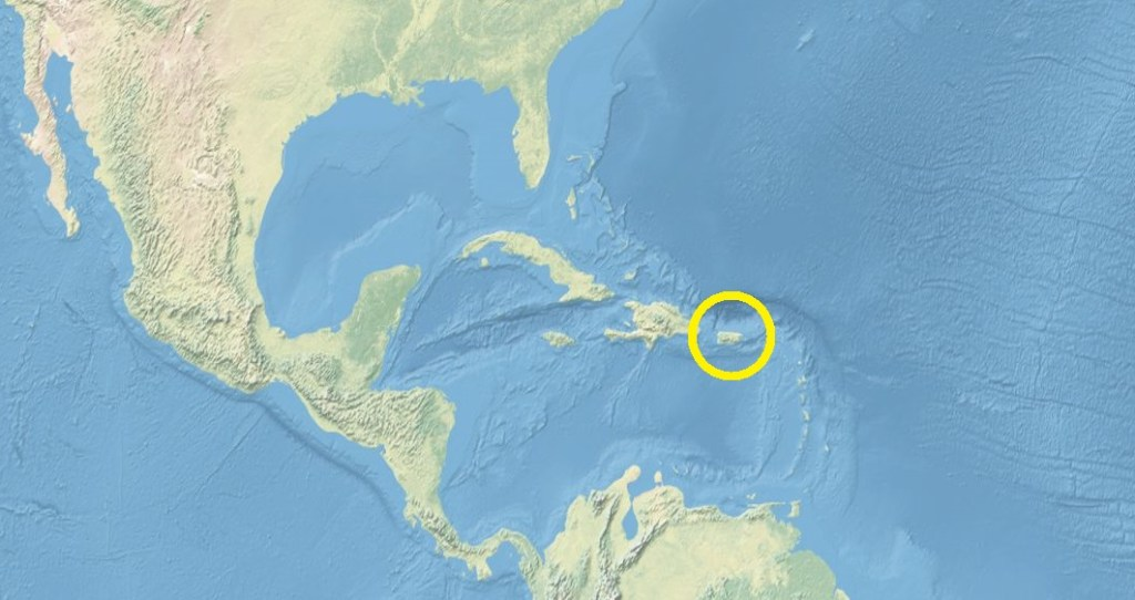 A map of the Caribbean with Puerto Rico circled