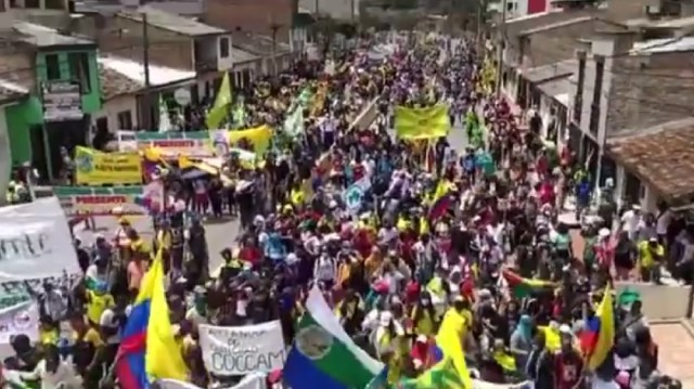 Protesters in Colombia on 28 May 2021