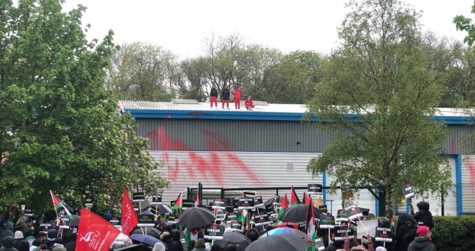 Palestine Action protesters in Leicester on 21 May