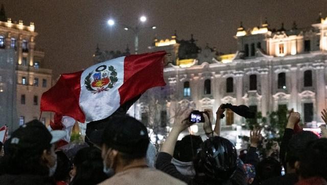 Peruvian flag at Peru protests 2020