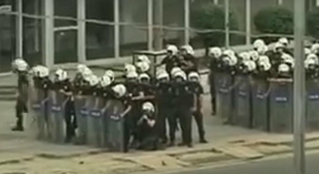 Police during strike in Turkey