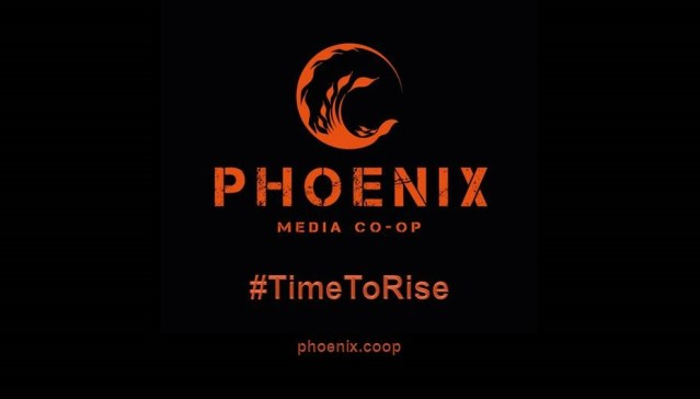 Phoenix Media Co-op logo with #TimeToRise hashtag